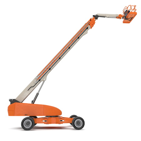 Orange self propelled articulated wheeled lift with telescoping boom and basket. 3D illustration isolated on white background Фото со стока