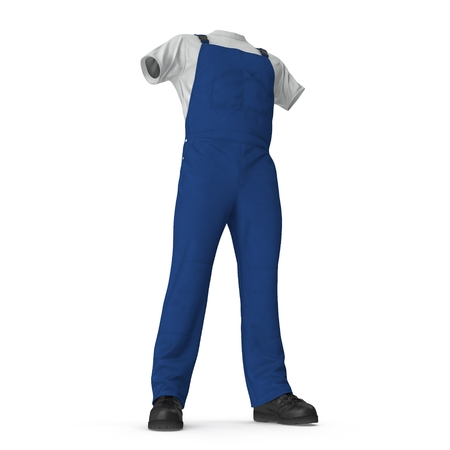 Construction Worker Blue Uniform On White Background.