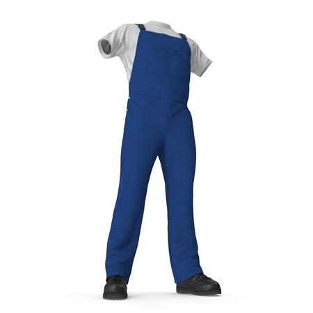 Construction Worker Blue Uniform On White Background.