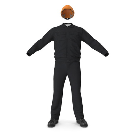 Long Sleeve Coveralls Uniform With Hardhat. 3d