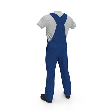 Construction Worker Blue Uniform On White Background. 3D illustration 스톡 콘텐츠