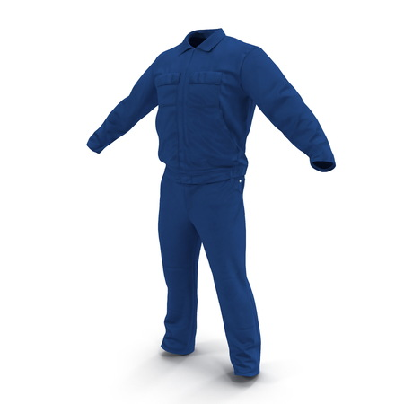 Mens Work Wear Blue Mechanics Overalls. 3D illustration