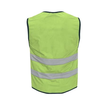 Veste de sécurité haute visibilité jaune. Illustration 3D sur fond blanc