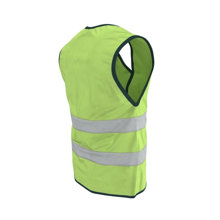 Yellow High Visibility Safety Jacket. 3D Illustration On White Background