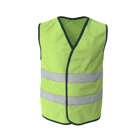 Yellow High Visibility Safety Jacket. 3D Illustration On White Background Banque d'images