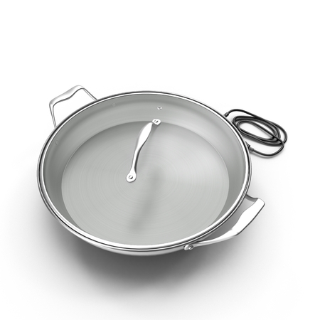 3D Round Electric Skillet On White Background