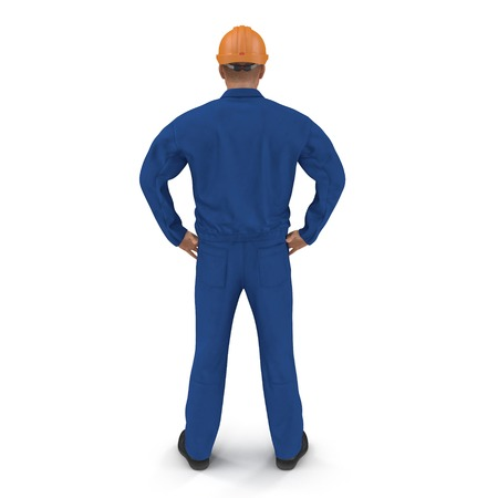 Construction Worker In Blue Coverall with Hardhat Standing Pose. 3D illustration