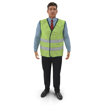 Port Engineer In High Visisbility Jacket Standing Pose. 3D Illustration Isolated On White Background