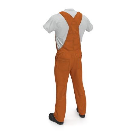 Orange Workwear Overalls On White Background. 3D Illustration, isolated