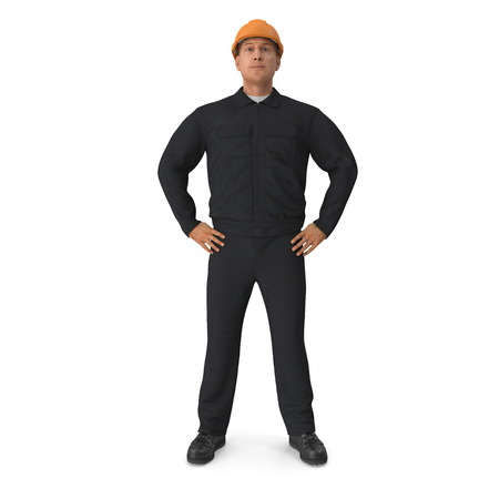 Worker In Black Uniform with Hardhat Standing Pose. 3D illustration, isolated