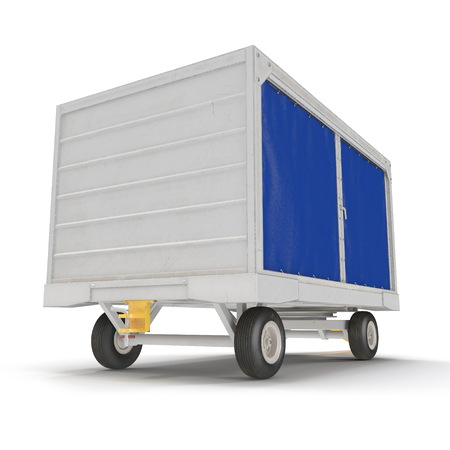 Airport Baggage Cart Covered On White Background. 3D Illustration