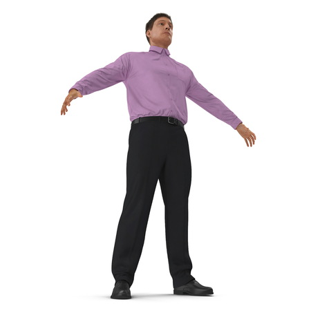 Man Business Casual Dress Standing Pose. 3D Illustration