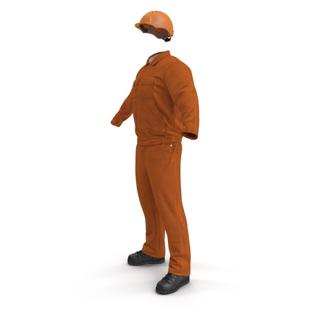 Builder's Orange Long Sleeve Coveralls With Hardhat. 3D Illustration Stock Photo