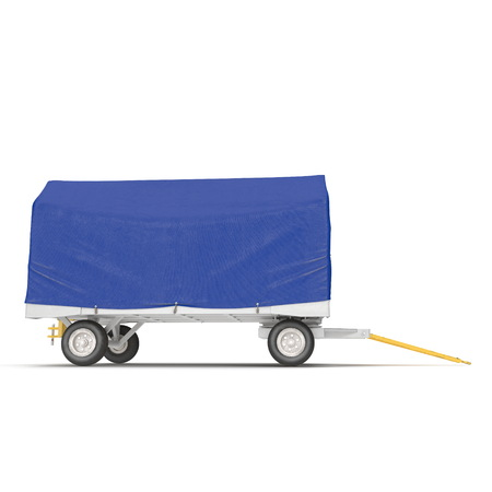Covered Blue Airport Luggage Trailer. 3D Illustration