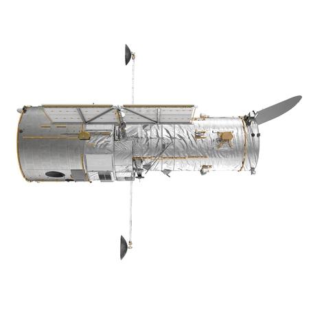 Telescopio Spaziale Hubble Su Sfondo Bianco. Illustrazione 3D, isolata