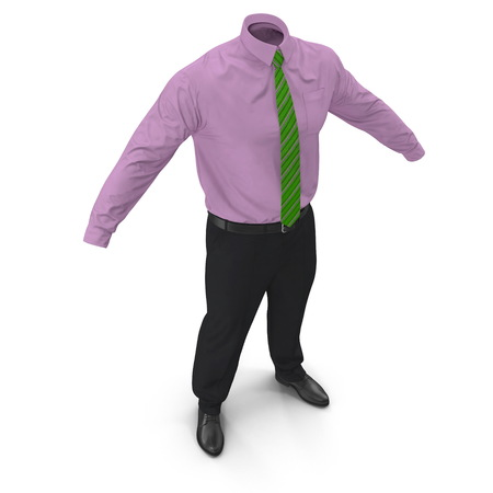 Men's Business Casual Dress With Green Tie. 3D Illustration