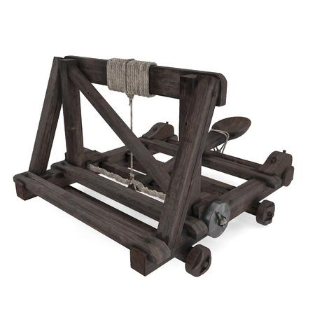 Medieval Wooden Catapult On White Background. 3D Illustration Stok Fotoğraf