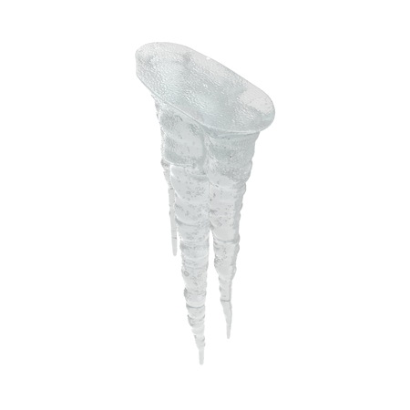 Icicles Sparkling On White Background Isolated. 3D Illusration, Render