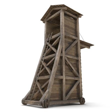 Medieval Siege Tower On White Background. 3D Illustration