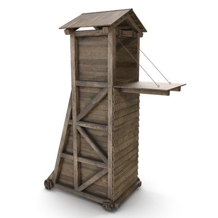 Medieval Siege Tower On White Background. 3D Illustration Banco de Imagens - 110299264