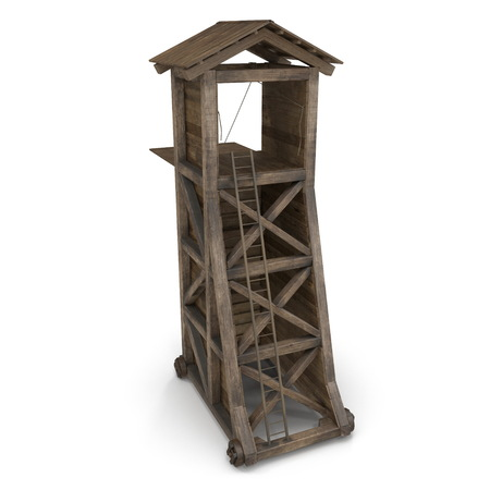 Medieval Siege Tower On White Background. 3D Illustration