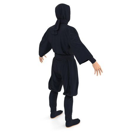 Ninja Standing Pose On White Background. 3D Illustration