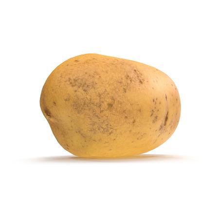 Fresh Potato On White Background. 3D Illustration, isolated