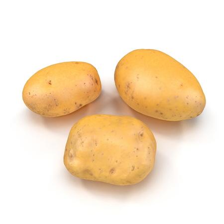 Fresh Potato On White Background. 3D Illustration, isolated Stock Illustration - 110875131