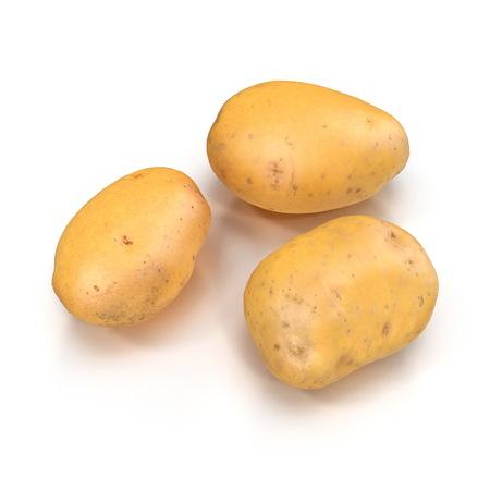 Fresh Potato On White Background. 3D Illustration, isolated Stock Illustration - 110875154