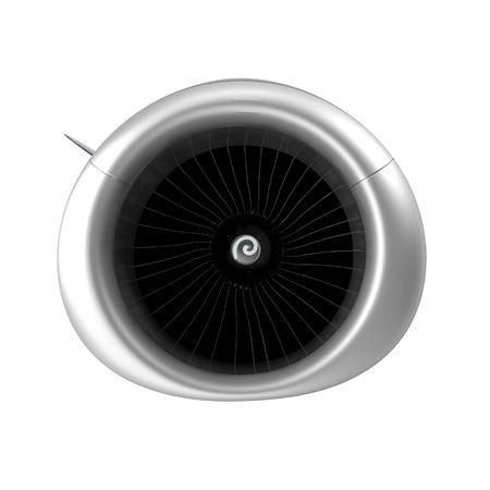 Isolated Aircraft Turbofan Engine On White Background Illustration