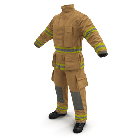 Fireman Uniform 3D Illustration On White Background Isolated Stok Fotoğraf