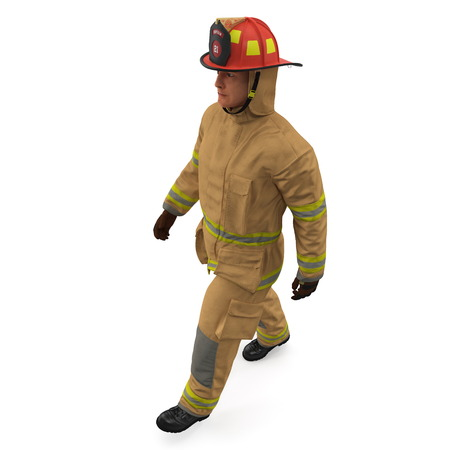 Firefighter In Fully Protective Uniform Walking Pose 3D Illustration On White Background Isolated Stock Photo