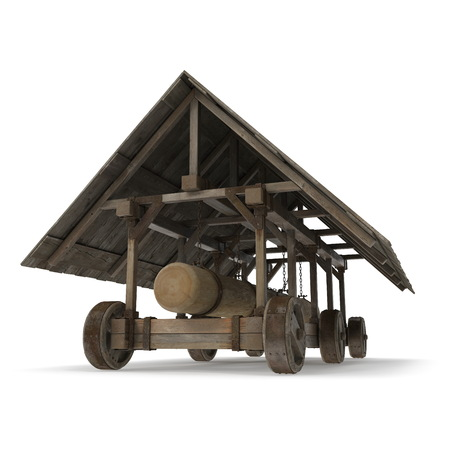 Medieval Battering Ram 3D Illustration On White Background Isolated Imagens