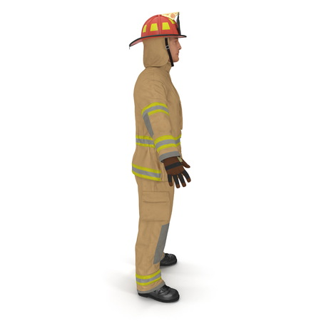 Firefighter In Uniform Standing Pose 3D Illustration Side View On White Background Isolated