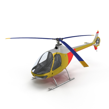 Light Helicopter On White Background 3D Illustration Isolated