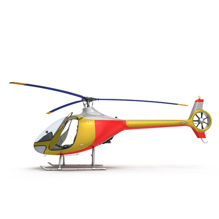 Light Helicopter Side View On White Background 3D Illustration Isolated Stock Photo