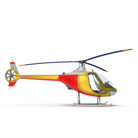 Light Helicopter Front View On White Background 3D Illustration Isolated