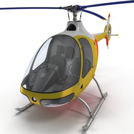 Light Helicopter Closer View On White Background 3D Illustration Isolated