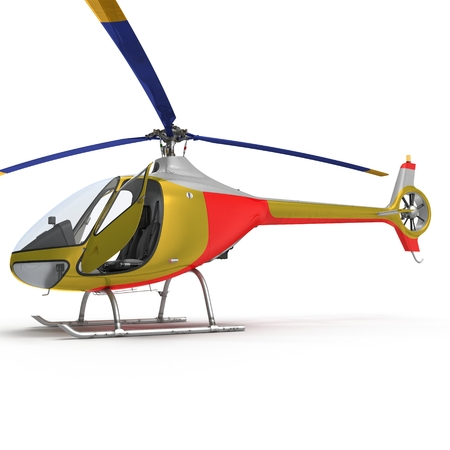 Light Helicopter Closer View On White Background 3D Illustration