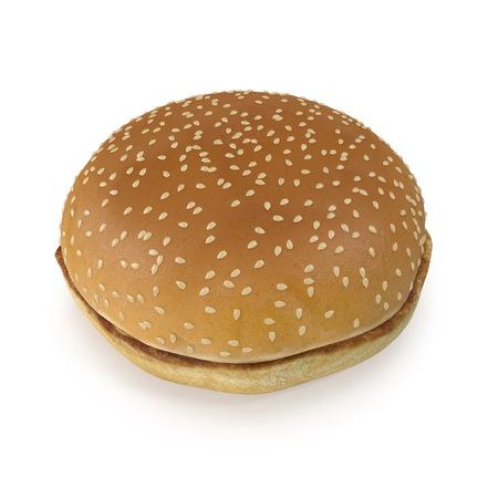 Sesame Seed Hamburger Bun 3D Illustration on White Background Reklamní fotografie