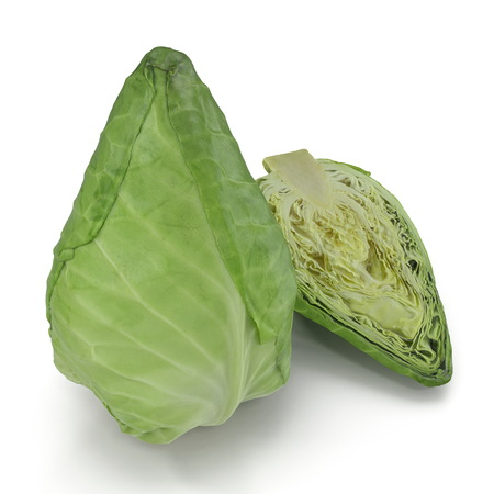 Sweetheart Cabbage 3D Illustration on White Background Stok Fotoğraf