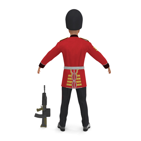 British Royal Guard Soldier Standing Pose on White Background 3D Illustration, Isolated