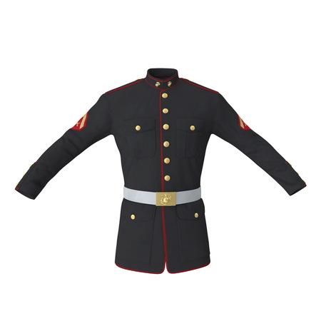 Parade Uniform of US Marine Corps on White Background Isolated 3D Illustration