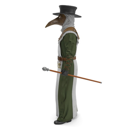 Plague Doctor Standing Posr Isolated on White Background 3D Illustration