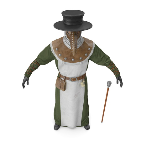 Plague Doctor Costume Isolated on White Background 3D Illustration 写真素材