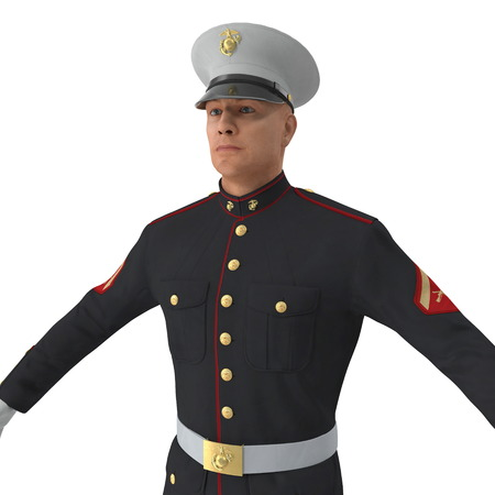 US Marine Corps Soldier in Parade Uniform Standing Pose Isolated 3D Illustration 写真素材