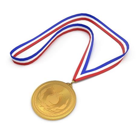 Sport-Goldmedaille auf weißem Hintergrund 3D-Illustration isoliert