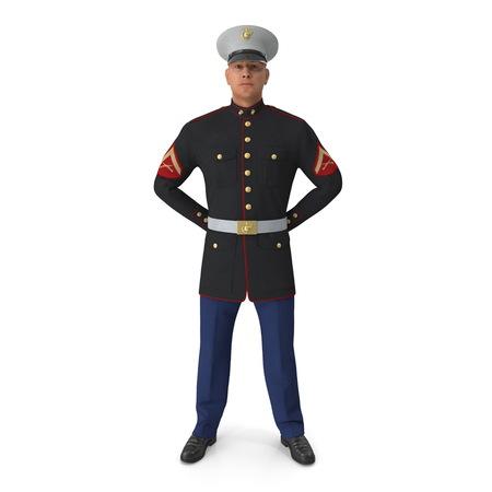 Soldado del Cuerpo de Marines de Estados Unidos en uniforme de desfile aislado sobre fondo blanco Ilustración 3D Foto de archivo