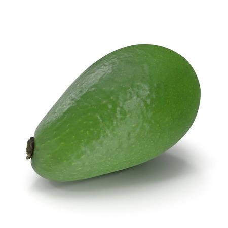Avocado Whole Isolated on White Background 3D Illustration