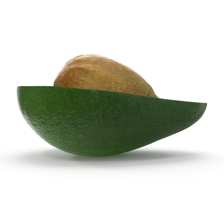 Avocado Half Whith Seed on White Background 3D Illustration Isolated